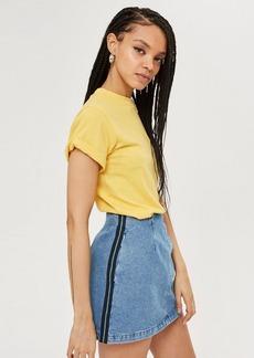 Topshop Petite Side Stripe Denim Skirt