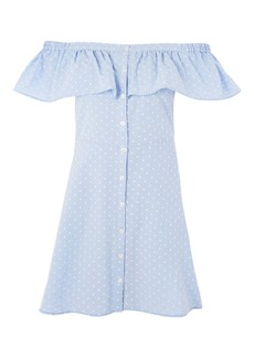 Petite Spot Dobby Button Bardot Dress