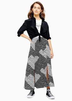 Topshop Petite Spot Midi Skirt