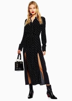 Topshop Petite Spot Pleated Shirt Dress