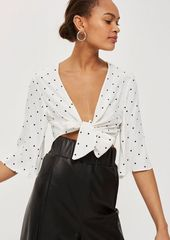 Topshop petite spotted knot front top  abvdac942e6 a