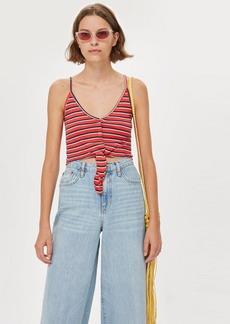 Topshop Petite Stripe Knot Popper Vest