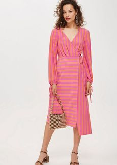 Topshop Petite Stripe Wrap Midi Dress