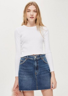 Topshop Petite Studded Denim Skirt