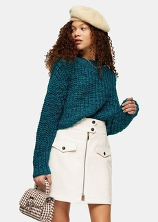 Topshop Petite Teal Boucle Cropped Knitted Jumper With Wool