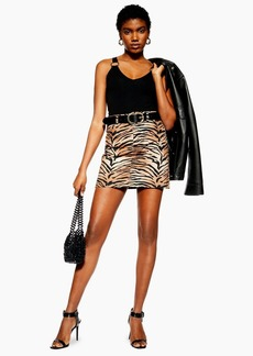 Topshop Petite Tiger Print Denim Skirt