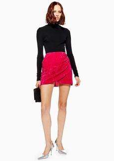 Topshop Petite Velvet Drape Mini Skirt
