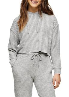 Petite Women's Topshop Cozy Rib Brushed Crop Hoodie