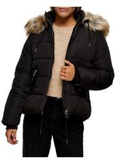 Petite Women's Topshop Frieda Faux Fur Trim Jacket