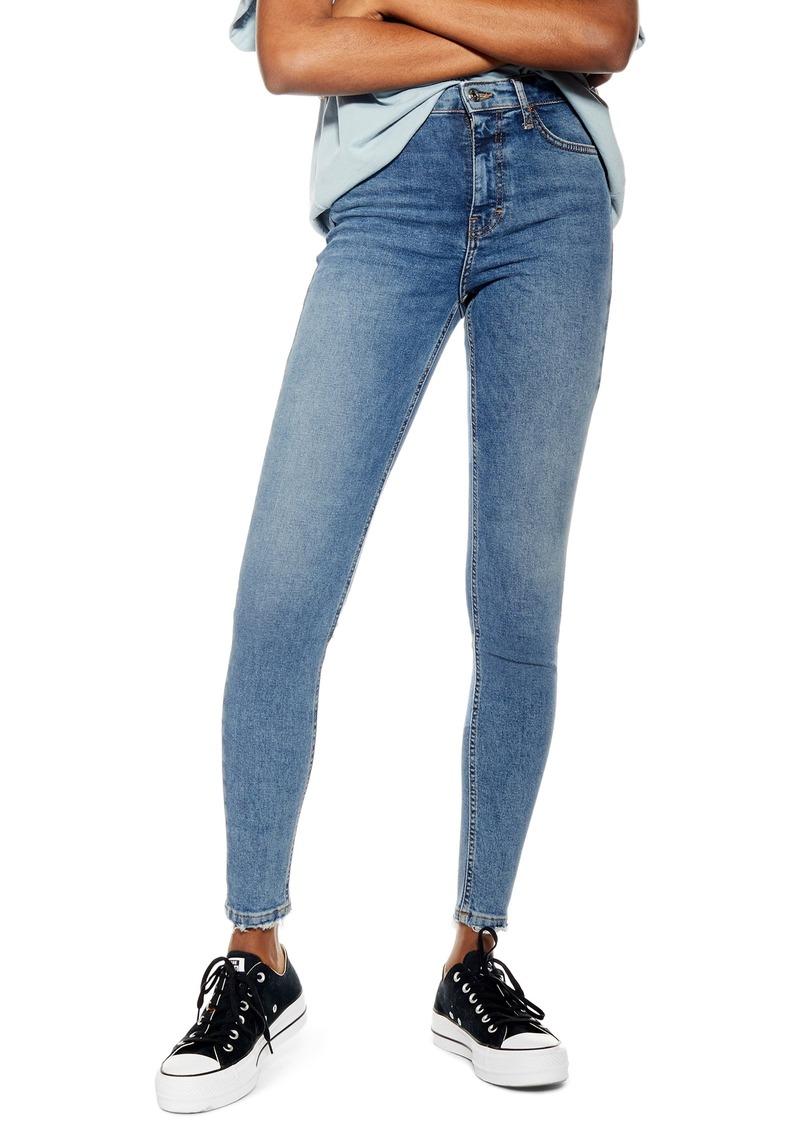 Petite Women's Topshop Jamie Fray Hem High Waist Skinny Jeans