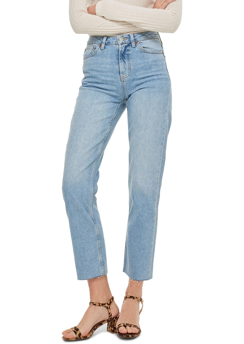 Petite Women's Topshop Raw Hem Crop Straight Leg Jeans