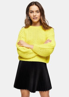 Topshop Petite Yellow Cropped Jumper With Wool