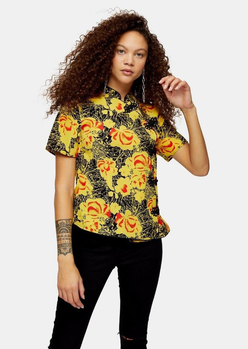 Topshop Petite Yellow Floral Print Frogging Blouse