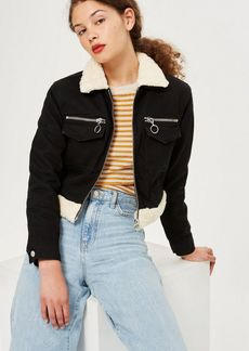 Topshop Petite Zip Cropped Borg Denim Jacket