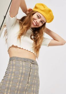 Petite Zip Popper Checked Mini Skirt