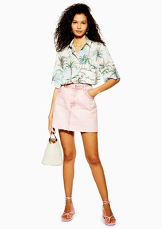 Topshop Pink Acid Wash Denim Skirt