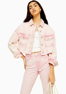 Topshop Pink Acid Neon Wash Hacked Denim Jacket