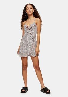 Topshop Clothing /Dresses /Pink Animal Ruffle Mini Slip Dress