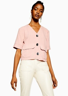 Topshop Pink Button Down Top With Linen