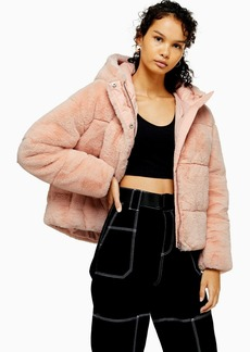 Topshop Pink Faux Fur Padded Puffer Jacket