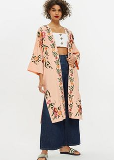 Topshop Pink Floral Embroidered Kimono