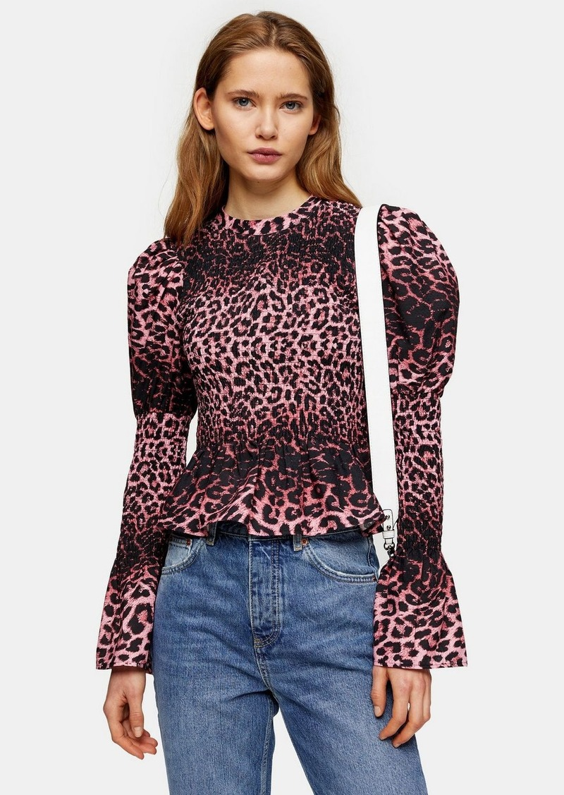 Pink Leopard Print Shirred Blouse