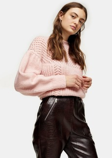 Topshop Pink Mid Weight Yoke Knitted Jumper