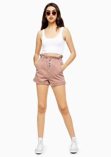 Topshop Pink Paperbag Denim Shorts