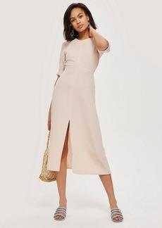 Topshop Pink Seamed Crepe Midi Dress