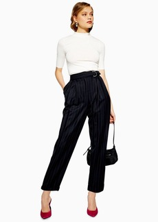 Topshop Pinstripe D Ring Trousers