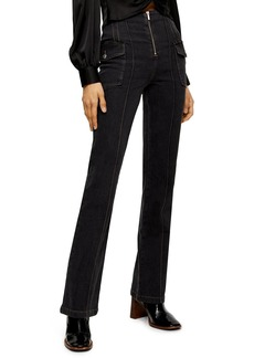 Topshop Pintucked Flare Jeans