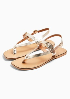 Topshop Piper Gold Leather Buckle Sandals