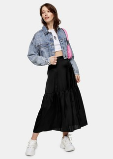 Topshop Plain Black Tiered Satin Skirt