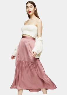 Topshop Plain Blush Pink Satin Tiered Midi Skirt