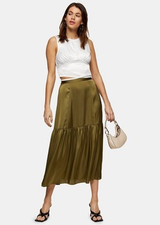 Topshop Plain Khaki Tiered Satin Skirt