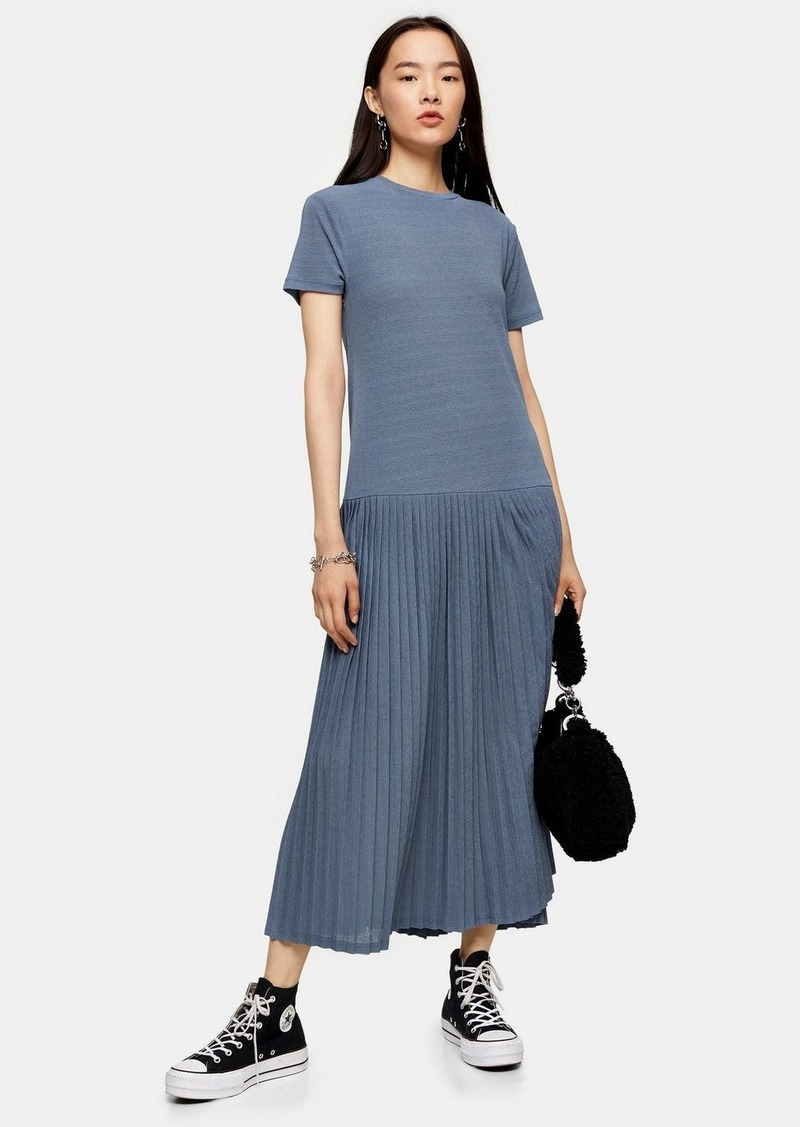 Topshop Pleat Pleated Mesh Midi Dress