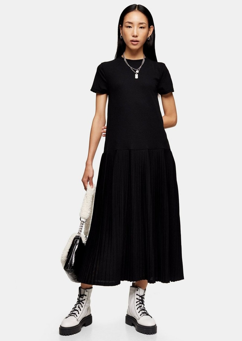 Topshop Black Pleated Mesh Midi Dress