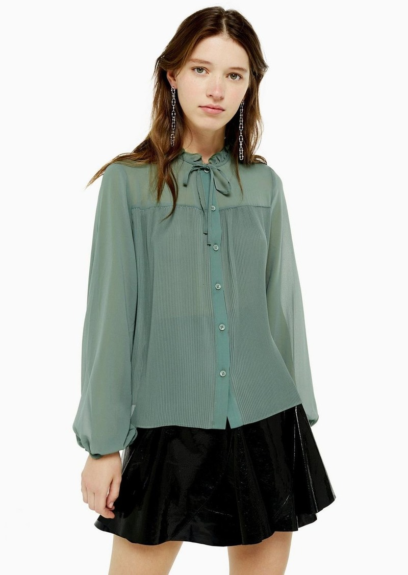 Topshop Green Pleated Neck Blouse