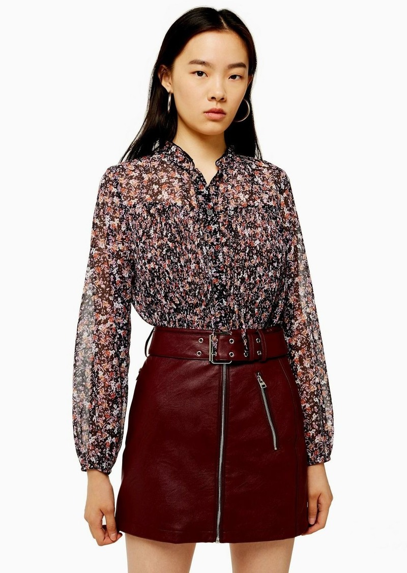 Topshop Pleated Neck Floral Blouse