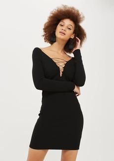 Topshop Plunge Lace Up Mini Bodycon Dress