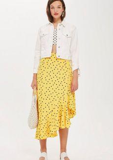 Topshop Polka Dot Asymmetric Skirt