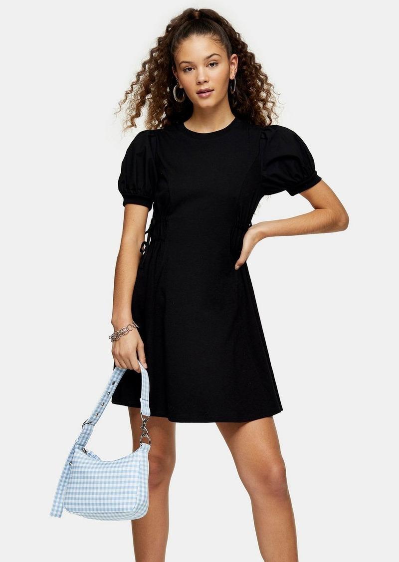 Topshop Poplin Sleeve Mini Dress