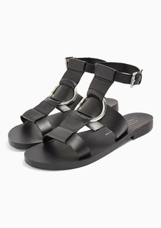 Topshop Poppy Black Leather Ring Sandals