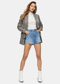 Topshop Premium Blue Denim Mom Shorts