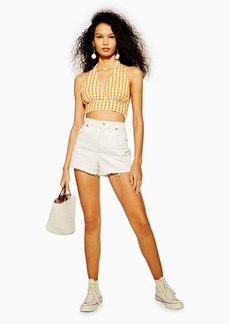 Topshop Premium White Denim Mom Shorts