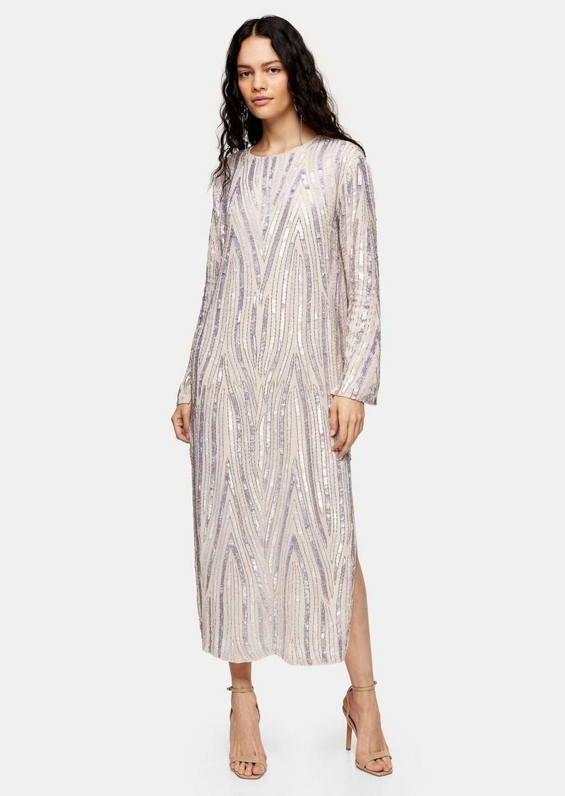 Topshop Premium Ivory Embellished Midi Dress