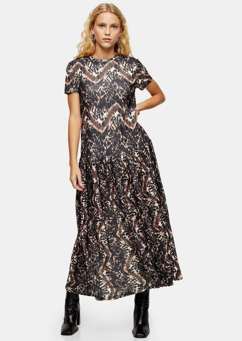 Topshop Printed Pleated Mesh Midi Dress