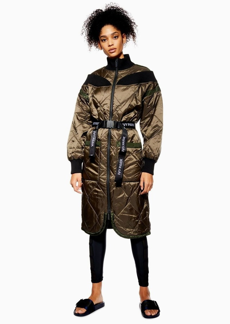 Topshop Quilted Bardot Coat By Ivy Park