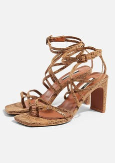 Topshop Raja Leather Natural Strap Mid Sandals