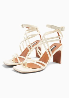 Topshop Raja Leather Strap Mid Sandals